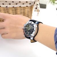 Wrist Watch Large Dial Free shipping Fashion Wide Leather Men Watch Fashion Quartz Men Watch Ladies Sport Analog