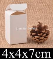 4*4*7cm Cosmetic/Jewerly white paper box 1.6''*1.6''*2.8'' handmade gift boxes,Essential oil box,custom box logo 100pcs/lot