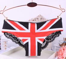 Fashion Pink Calcinha Flag Print Women s Cotton Underwear Low waist Sexy Panties 2 Styles for