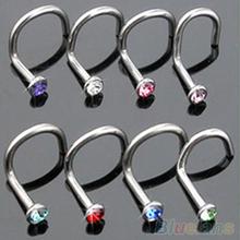 10 pz colori della miscela del rhinestone hook bone bar pin piercing naso studs anelli 2MGF  (China (Mainland))