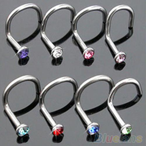10Pcs Mix Colors Rhinestone Hook Bone Bar Pin Piercing Jewelry Nose Studs Rings 2MGF(China (Mainland))