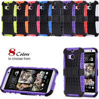 Heavy Duty Shock Proof Case For HTC One M8 Impact Rugged Hybrid Kick-stand Armor 2 in 1 Back Cover For HTC One M8 Phone Cases