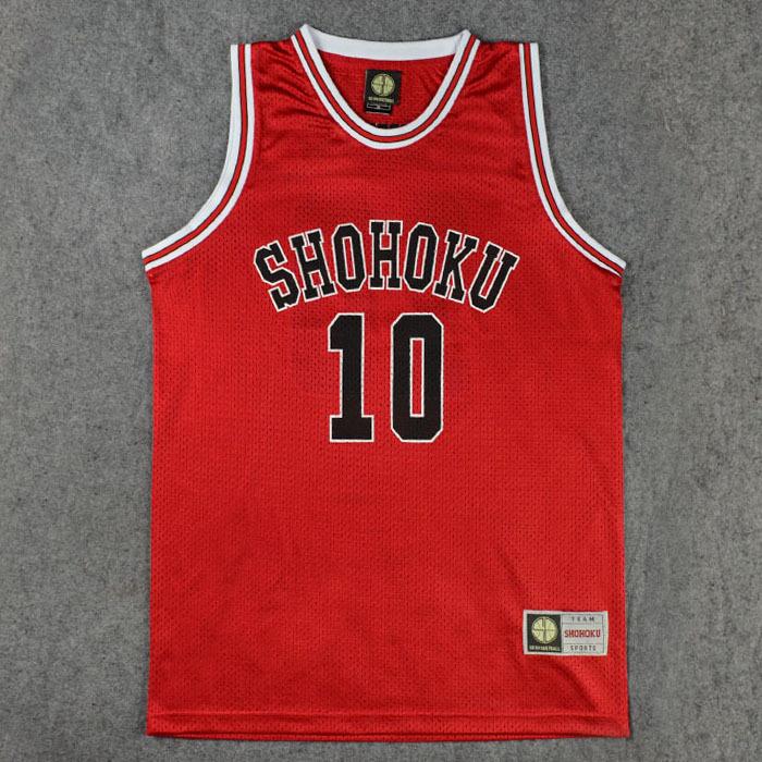 Manga Anime Slam Dunk Shohoku Basketball clothes 10 Sakuragi Hanamichi basketball clothing vest red jersey(China (Mainland))