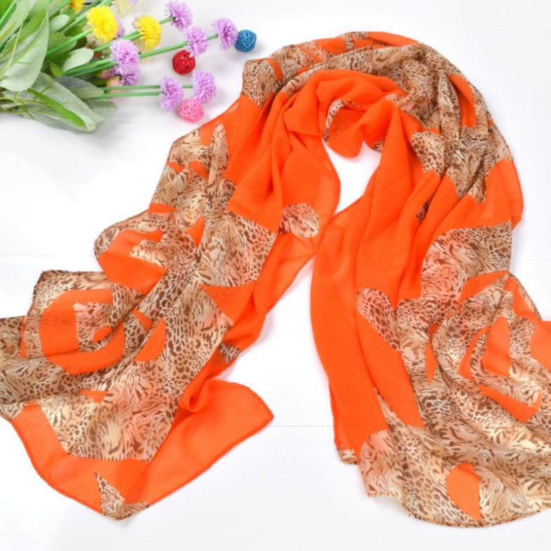 women scarf female winter leopard scarf women 2015 chiffon scarves echarpe female polyester/orange/red/blue/160*50cm wholesale(China (Mainland))