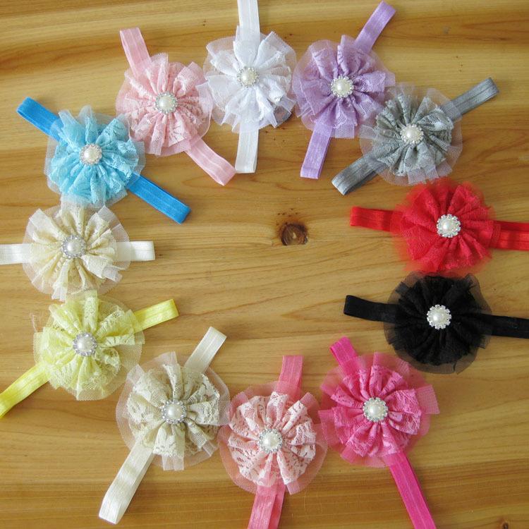 Wholesale children pearl rhinestone mesh stretch lace ribbon baby headband flower with 12 colors 100pcs/lot(China (Mainland))
