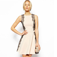 European and American left and right side hit the color patch eyelash lace waist lace sleeveless dress back zipper