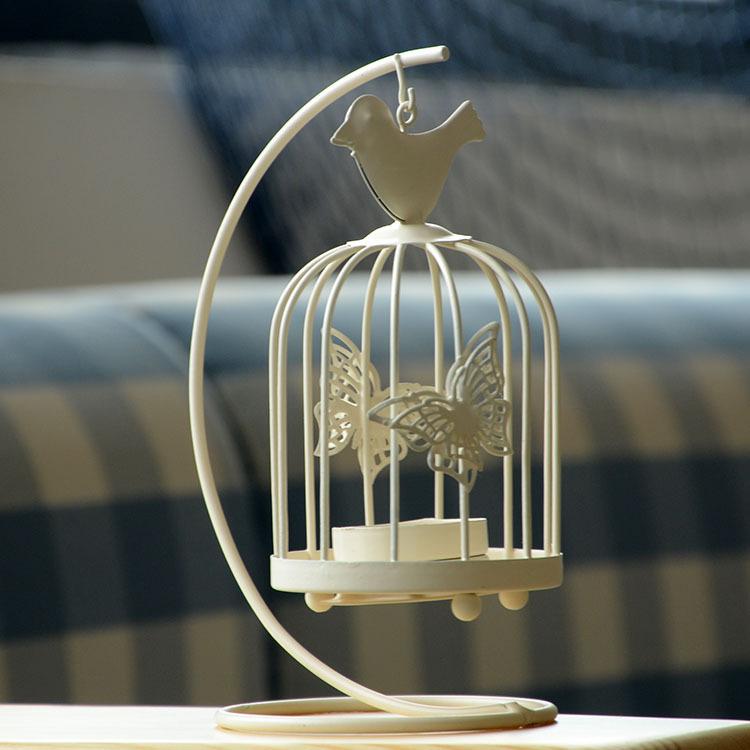 Ornamentos de jardim ferro forjado mantimentos zakka acessórios para dom idéias Birdcage Candlestick direto da fábrica A9(China (Mainland))