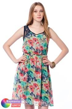 Женское платье с цветочным принтом LET'S GO из коллекции весна 2015 из Турции с бесплатной экспресс доставкой ( 14Y2024 ) [ BR05 MCW01 TP21 SP02 ]