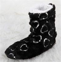 1pair/lot Winter Women Plush Indoor Slippers Glitter Heart Warm Cotton Floor Boots Home Slipper Shoes DP673783