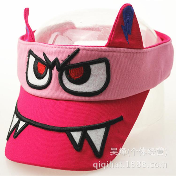 2015 visor sun hat the new with cartoon eyes baby teeth empty top summer shielding cap for children duck tongue baseball Animal(China (Mainland))