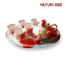 8pcs/set Tea set Gift Drinkware Kung Fu Tea mug Bone China porcelain Creative Cup wedding gift enamel porcelain Wealth tea sets