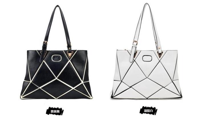 Women brand designer vintage shoulder bag woman satchels messenger bags satchel flap lady splice casual tote leather black white(China (Mainland))