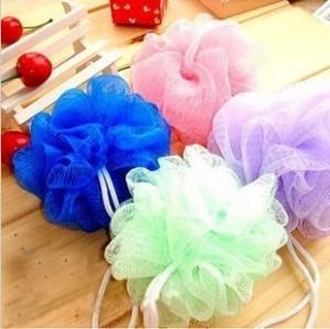 Multicolour bath ball bathsite bath tubs Cool ball bath towel scrubber Body cleaning Mesh Shower wash Sponge product 1041(China (Mainland))