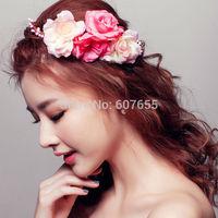 2015 New Short Bride Veil Hair Accessory Pink Flowers Wreath Headdress Wedding Bridal Veil Accessories Brides Hair Decoration