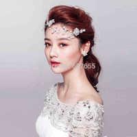 2015 New Short Bride Veil Pearls Diamonds Flowers Hair Accessory Wedding Bridal Veil Accessories Brides Hair Decoration