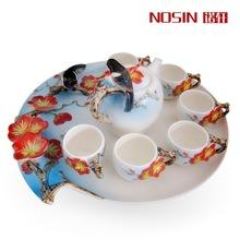 Festival Tea set Gift Top Quality 8pcs/set Drinkware Kung Fu Tea mug Bone China wedding gift enamel porcelain beaming tea sets