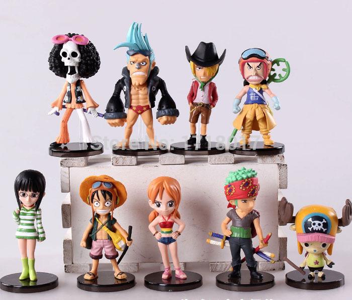9pcs/set Anime One Piece Mini Action Figures The Straw Hats Luffy/Roronoa/Zoro/Sanji/Chopper Figure Toys(China (Mainland))