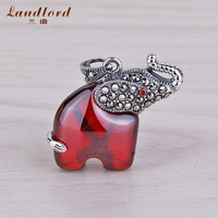 Garnet Elephant Charm Fit For Necklace & Bracelet Marcasite Jewelry Wholesale DIY Accessories 925 Sterling Silver Jewelry CP0110