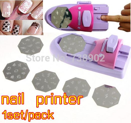 Fashion Salon Express Pro Nail Art Stamping Set Nail Decoration Printer Manicure Kit Finger Stencil DIY Designs TV Product(China (Mainland))