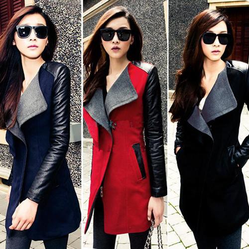 Womens Long Leather Sleeve Trench Coat 2015 New Autunm Winter Fashion Warm Parka Female Windbreaker Turn-down Collar Coat WWN647(China (Mainland))