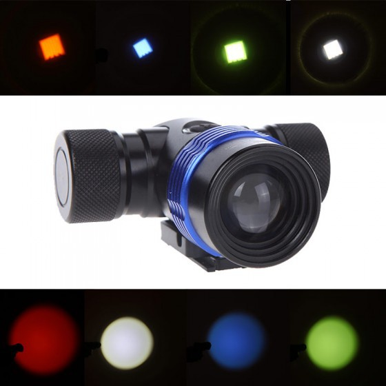 Cree XM-L T6 2000 Lumens 3 Modes Rechargeable LED Headlight Adjustable Focus Head Lamp Colorful Bike Light Hunting Spotlight(China (Mainland))
