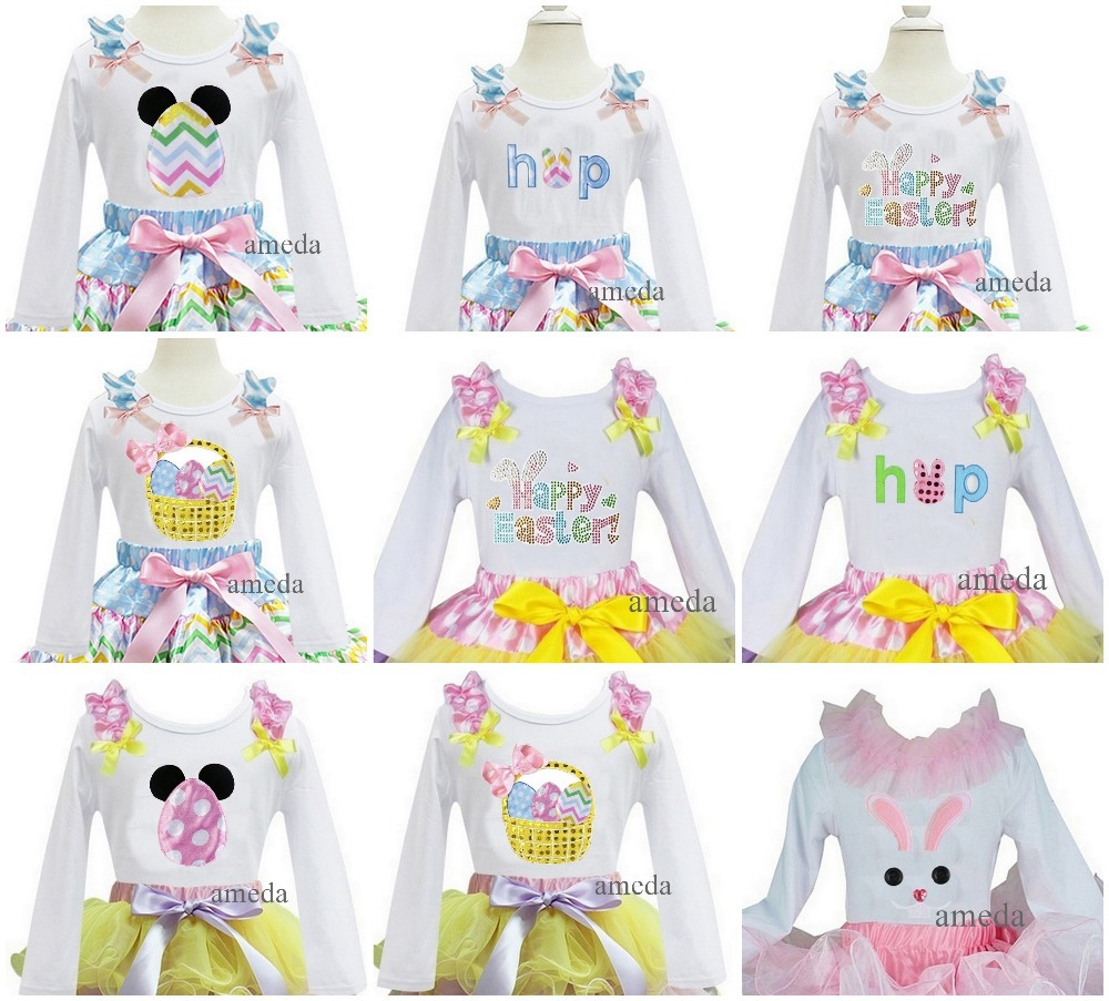 Girls Easter Bunny , Egg ,Rabbit White Long Sleeves Top Pettitop Photo Props 1-7Y(Hong Kong)