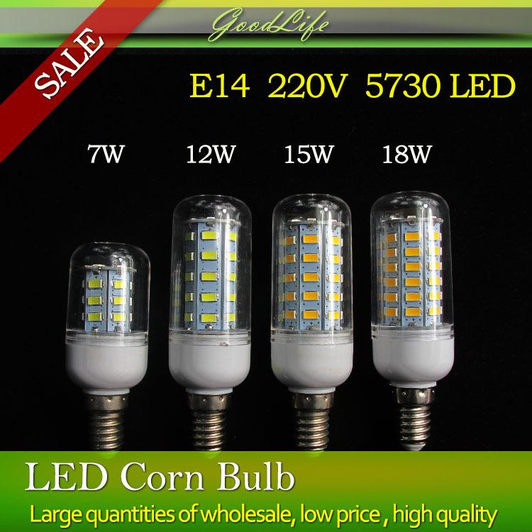 E14 Led Lamp 5730 220V 7W 12W 15W 18W LED Lights Corn Led Bulb Christmas Chandelier Candle Lighting 5PCS/Lot(China (Mainland))