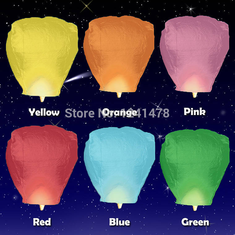 Free shipping High quality 20pcs/pack Eco wish sky lantern for flying for wedding decoration(China (Mainland))