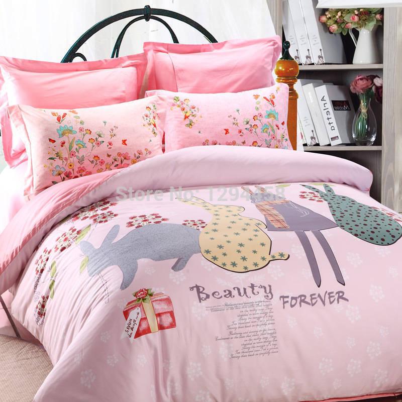 European Bedding set personalized fashion cartoon bed linen reactive printing farm animal bed sheet princess queen size wedding(China (Mainland))