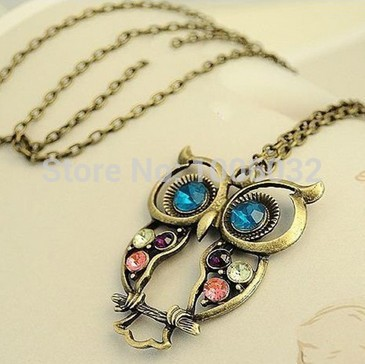 2014 Big Discount Hollow Out Beautiful Owl Women Necklace Long Copper Alloy Chain Vintage Owl Pendants Classic Retro Jewelry(China (Mainland))