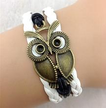 100% High Quality Genuine Leather Bracelet Lovely Animal Owl Bracelet & Bangles Vintage Jewelry ,Wholesale Price