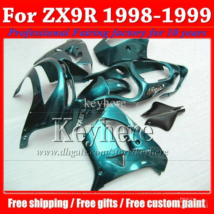 Custom all green fairing kits for 1998 1999 Kawasaki ZX9R 98 99 high grade moto body kitss fairings KQ252(China (Mainland))