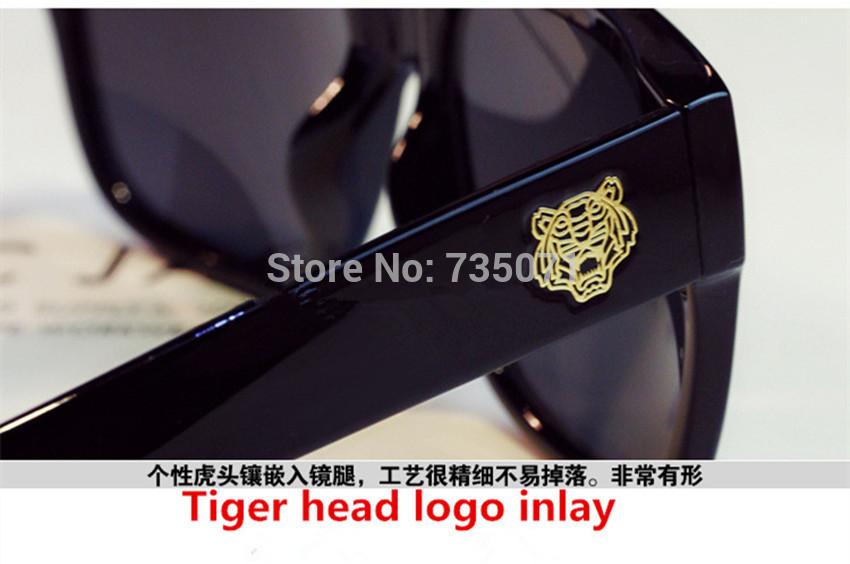 Звезда стиль мода мужчины женщины тигр глава солнцезащитные очки старинные площади большой кадр очки culos feminino бренд дизайнер солнцезащитные очки