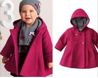 New baby girl coat pure pink warm winter children outwear trench fashion kids clothing wholesale and retail