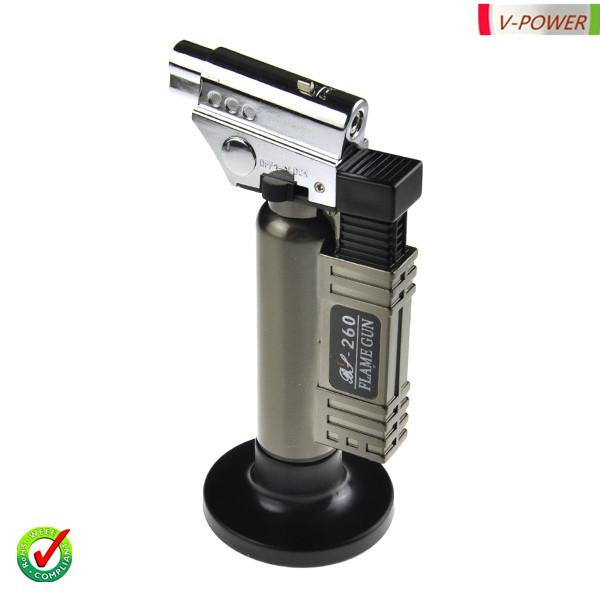 Waterproof Zinc Alloy & Plastic Butane Cigar Lighter Cigarette Lighter-Black & Silver(China (Mainland))