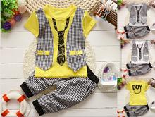 2015 Fashion Baby Boy Spring Clothes Gentleman Suit Toddler Boys Clothing Set short Sleeve T-shirt + Pants Kids Clothing Set(China (Mainland))