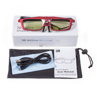D07V021B Rechargeable DLP link 3D Glasses Projector and 3D Ready DLP HD TV,Red Color