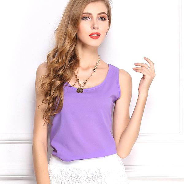 2015 Fashion Summer Women's Clothes Chiffon Sleeveless Vest Causal Women T Shirt Chiffon Summer Tops 16 Solid Colors(China (Mainland))
