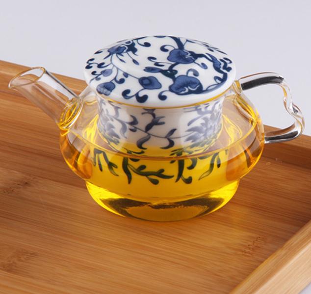 Asian ceramic tea set with warmer