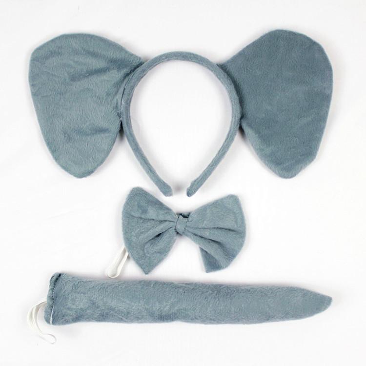 Free Shipping Animal set (headband bow tie tail)/Elephant headband set/party wear/animal hairband/animal headgear/party headband(China (Mainland))