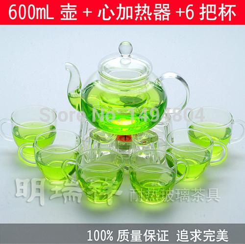 Glass Teapot 600ML Glass Tea Coffee Pot Tea Sets 6 Tea Cups Heat resistant Glass Teapot