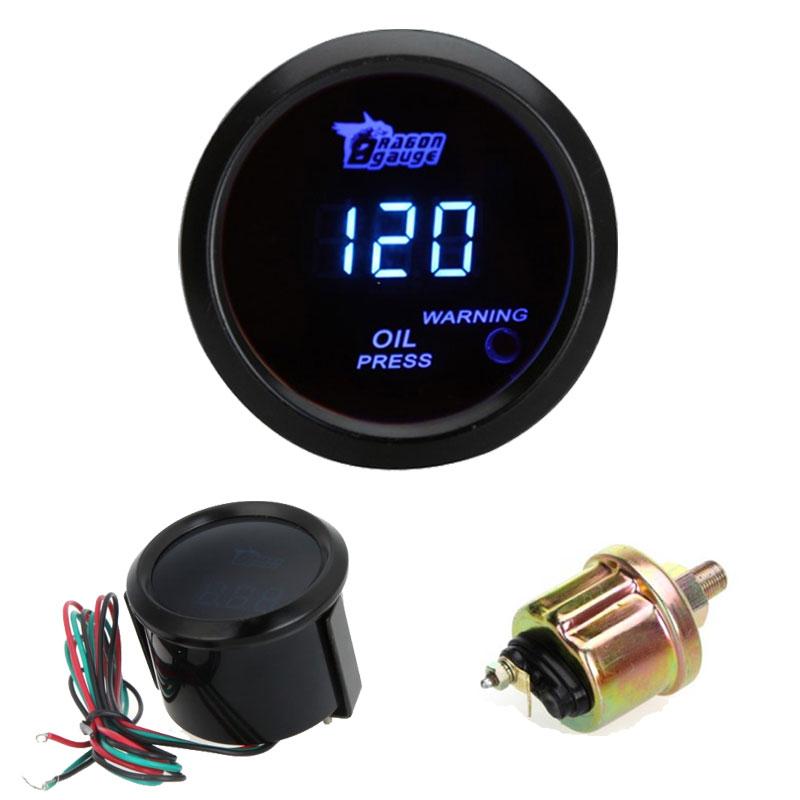 Auto Car Motor Universal Digital Oil Gauge Pressure Meter with Sensor 52mm 2in LCD Indicator 0~120PSI Warning Light Black(China (Mainland))
