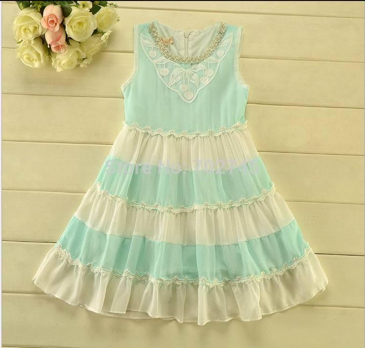 2015 new summer beach dress Girl Pearl Collar floral chiffon dress Sweet Sundress 2069(China (Mainland))