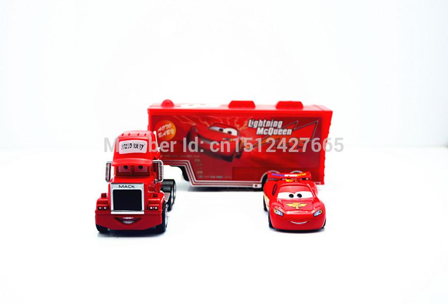 PIXAR CARS 2 -100% Original Mack truck + Mcqueenes Loose Rare Diecast 1:55 kids toys alloy metal car model Loose In Stock(China (Mainland))