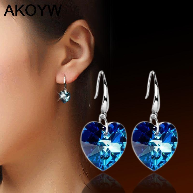 S925 sterling silver earrings for women long section of a large heart-shaped blue crystal high-end jewelry women's jewelry(China (Mainland))