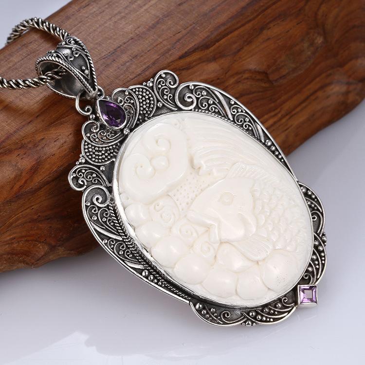 Sterling silver jewelry wholesale handmade bone pendant inlaid purple crystal carp pattern YND175(China (Mainland))