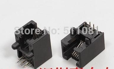 100PCS RJ11 PCB Modular network jack socket/ LAN plug 5311 6p6c,6p4c, 6p2c side-entry,90degree black(China (Mainland))