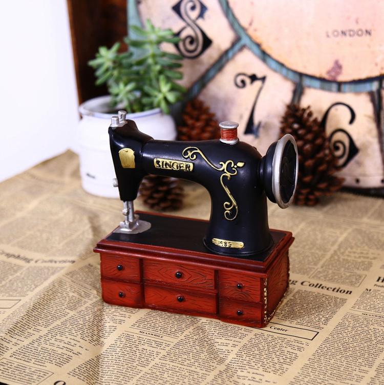 Dress shop decoration Craft resin Sewing machine model hot sell money boxes bank(China (Mainland))