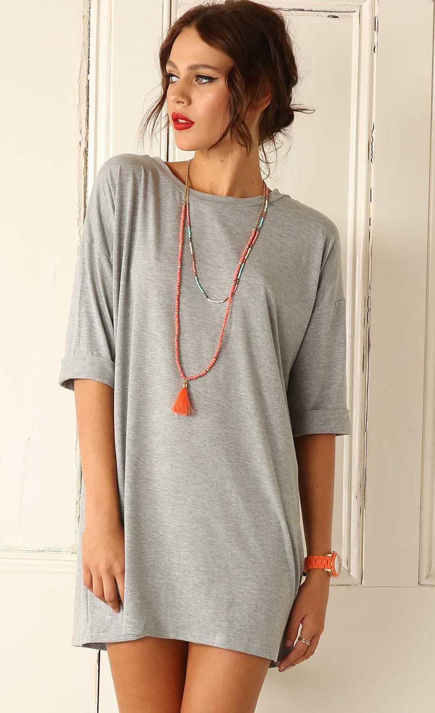 Shirt new design 2015 - 2015 Women Clothing New Design Fashion Grey Three Quarter T Shirt Dress Free Shipping New Arrivalus 19 90 Piece