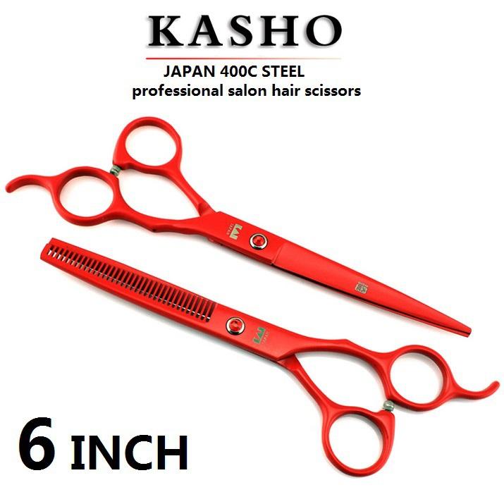 Kasho 2 adet/takım 6 inç profesyonel saç kesme makas set dayanıklı takviye 9cr paslanmaz çelik saç güzellik makas set